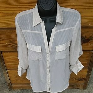 New York & Company sheer cream button down blouse